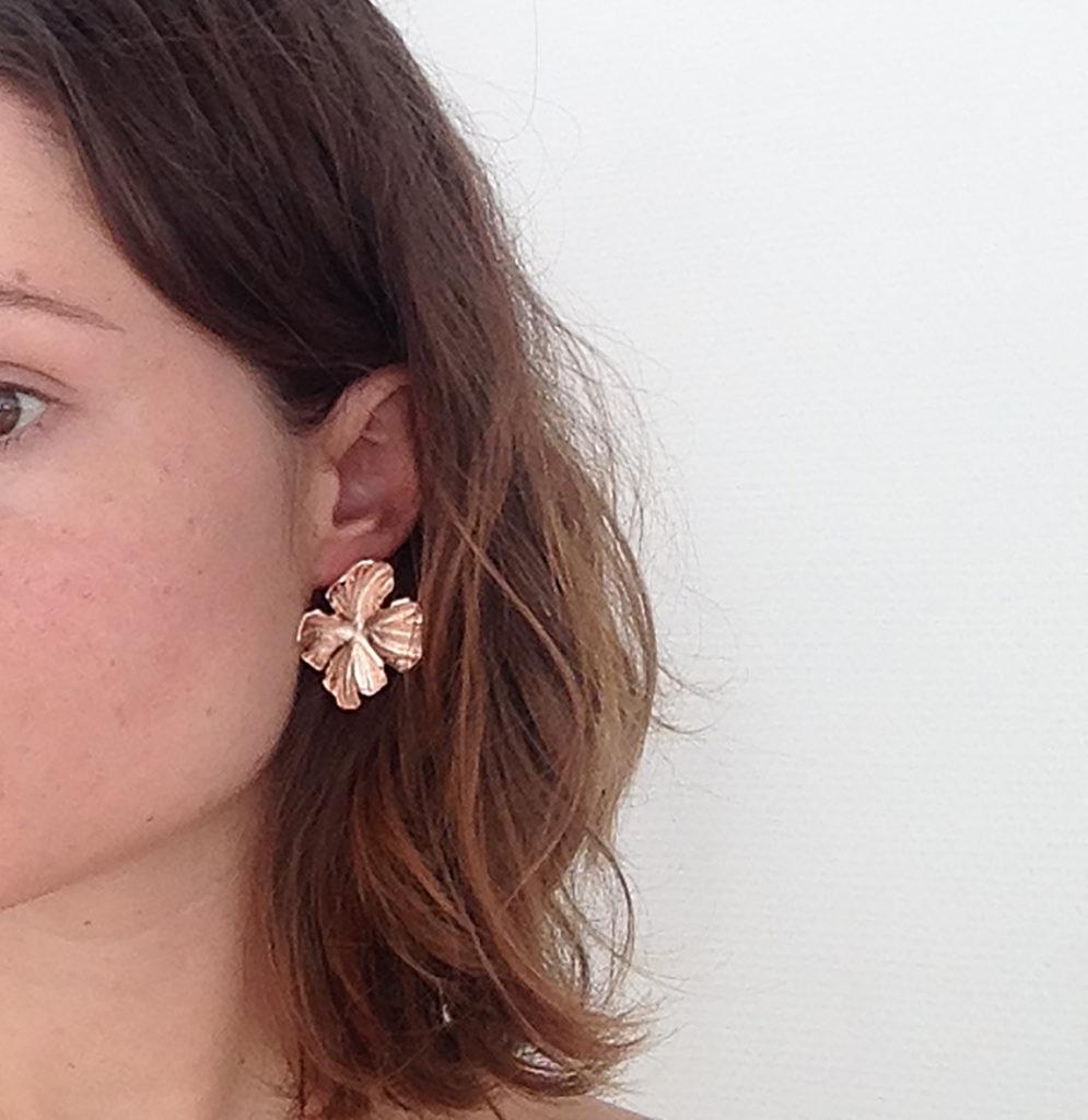 boucles d'oreilles laiton ciselé et or Constance Escal