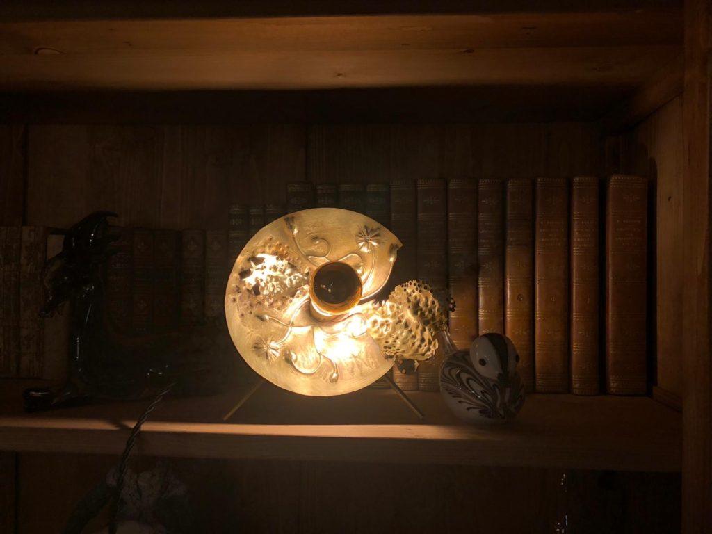 lampe végétale métal laiton ciselure Constance Escal