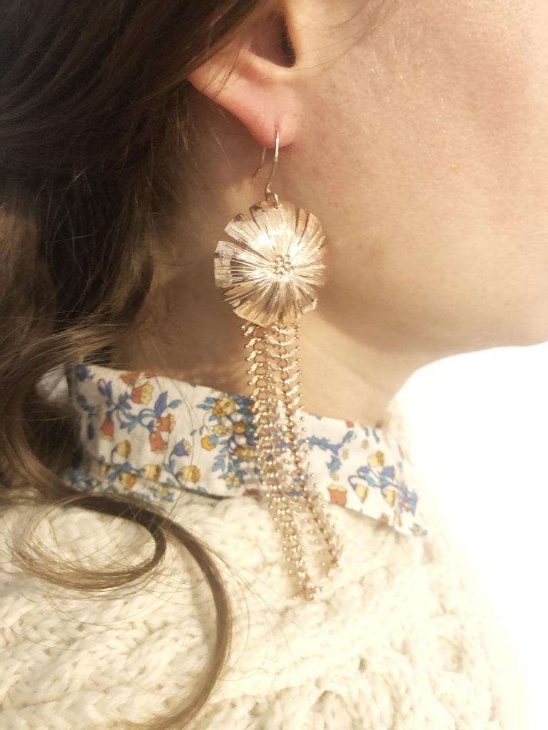 Boucles d'oreilles en laiton ciselé et doré à l'or fin Constance Escal